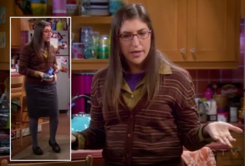 s05e22-amys-brown-stripe-cardigan-knee-skirt-500x339