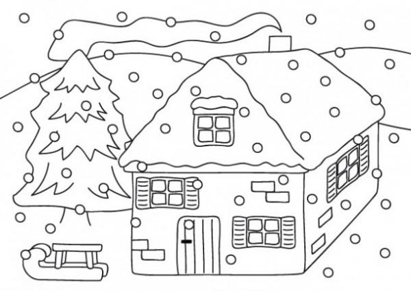 Imgenes con paisajes de invierno para colorear