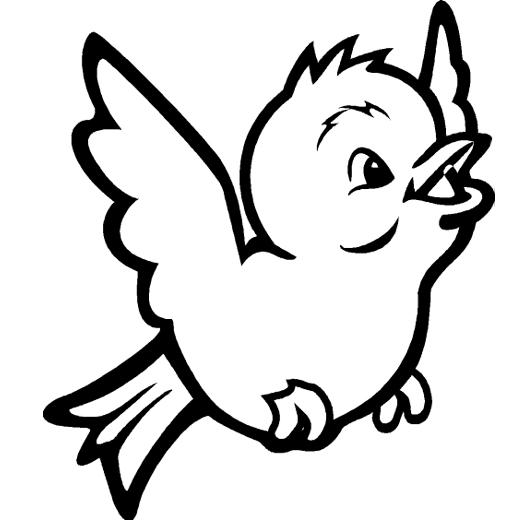 Black and White Cartoon Bird