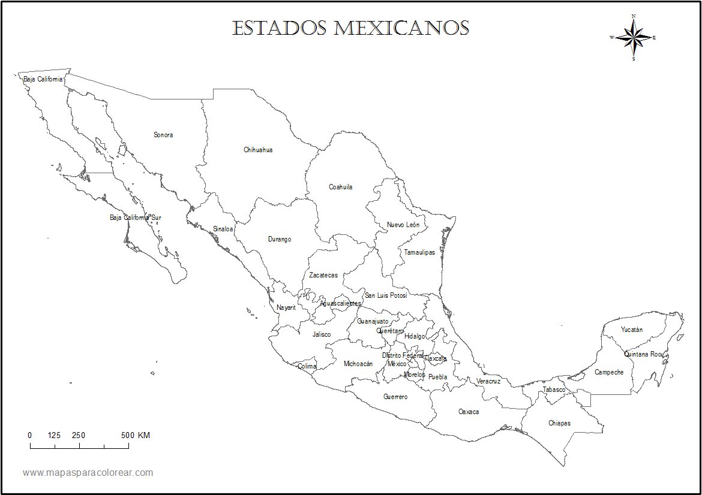 Mapa de México con nombres7