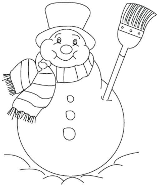 Muñecos de nieve navideños para colorear 3