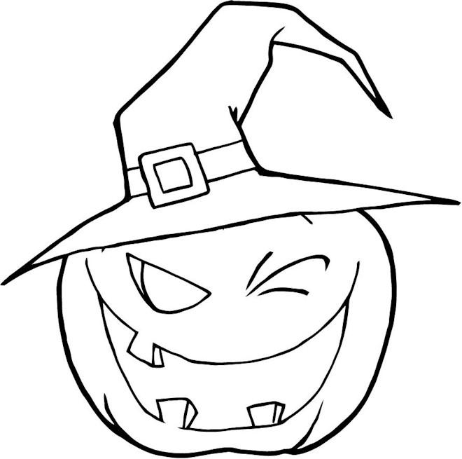 Calabaza de halloween para colorear - Dibujos de halloween faciles ...