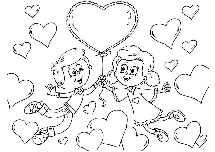 Dia del amor y la amistad para colorear