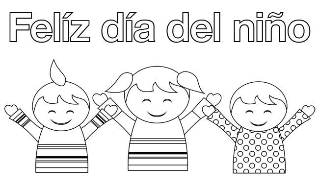 Feliz Dia Niño Colorear 1