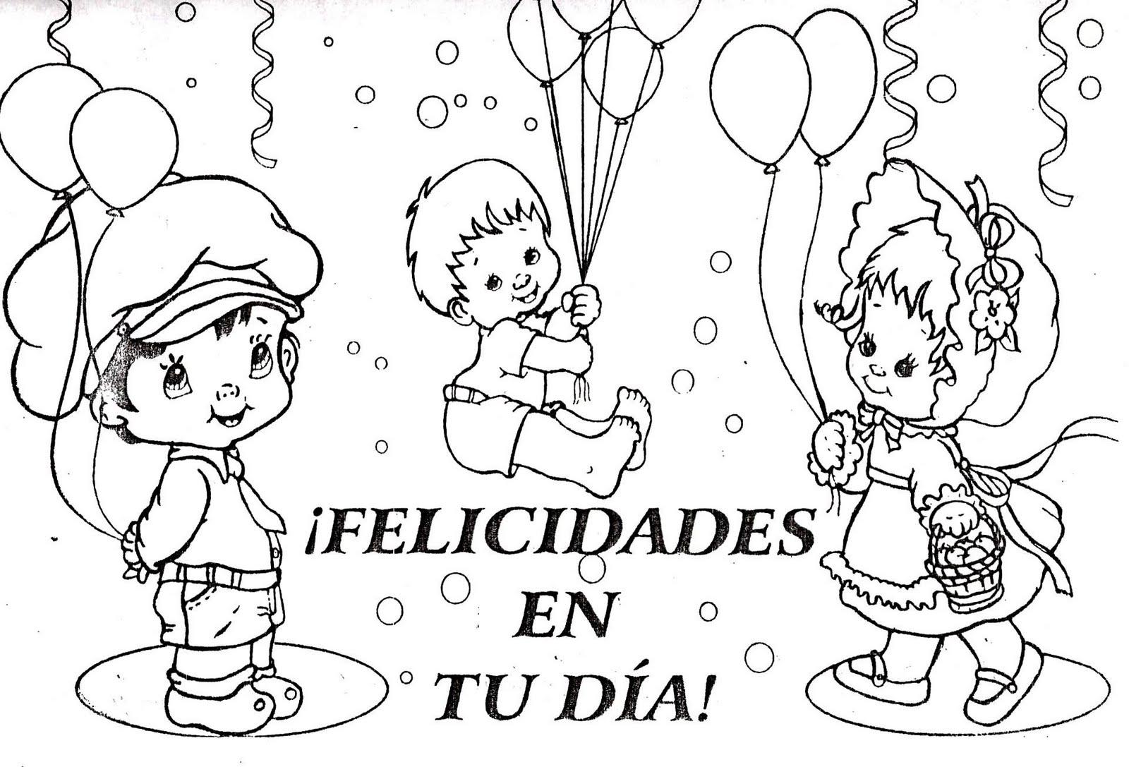 Feliz Dia Niño Colorear 3