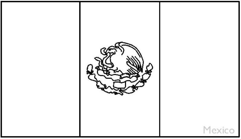 Bandera de Mexico - Dibujo para colorear pintar 2