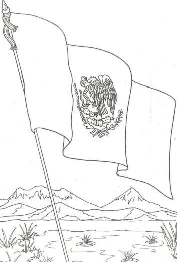 Bandera-de-Mexico-Dibujo-para-colorear-pintar