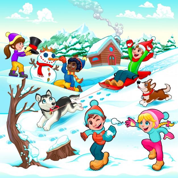 divertida-escena-de-invierno-con-ninos-y-perros-ilustracion-vectorial-de-dibujos-animados_1196-507