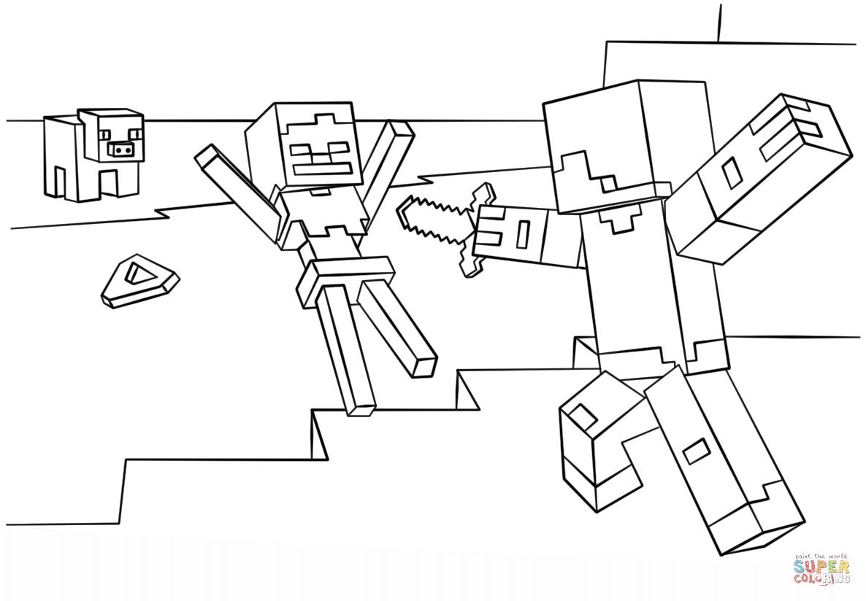 minecraft-steve-vs-skeleton-coloring-page