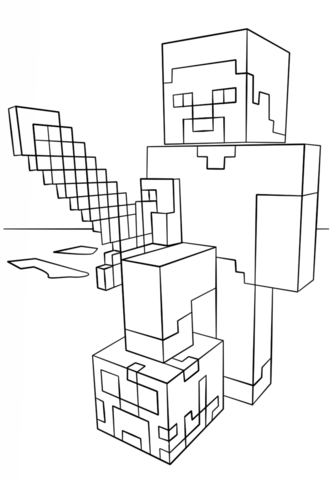 minecraft-steve-with-diamond-sword-coloring-page