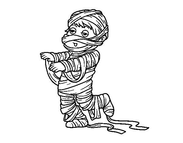 nino-disfrazado-de-momia-colorear