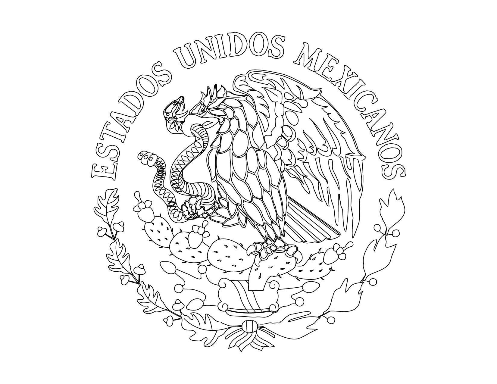 Escudo nacional mexicano para imprimir y colorear 01