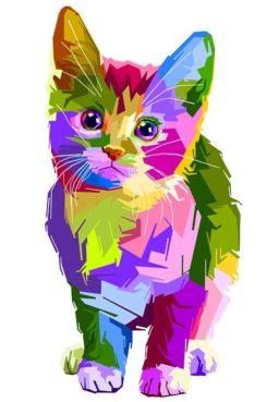 Pinturas de gatos de colores
