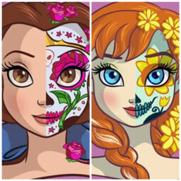 Princesas maquilladas como catrinas